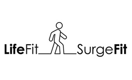 A line drawing of a person walking is between the words LifeFit and SurgeFit