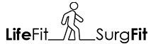 Text reads LifeFit-Surge Fit. There is a line drawing of a person walking