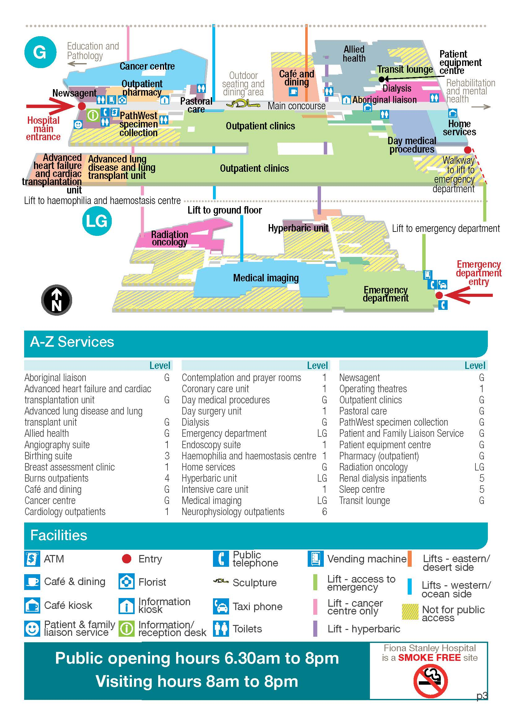 Map showing the services at Fiona Stanley Hospital by an A-Z listing