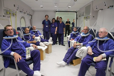 First patients in hyperbaric chamber