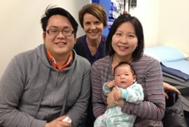 Left to right: Anthony Widjaja, FSH Lactation Consultant Leanne Graham (middle), his wife Celestina Chong and her son Tobias