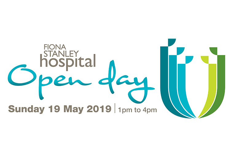 Banner reads Fiona Stanley Hospital Open Day Sunday 19 May  2019 1pm-4pm