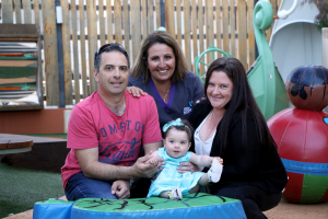 Peter Fiorenza, baby Ella Fiorenza and Donna Fiorenza with FSH Clinical Nurse NNU Vincenzina Brehaut