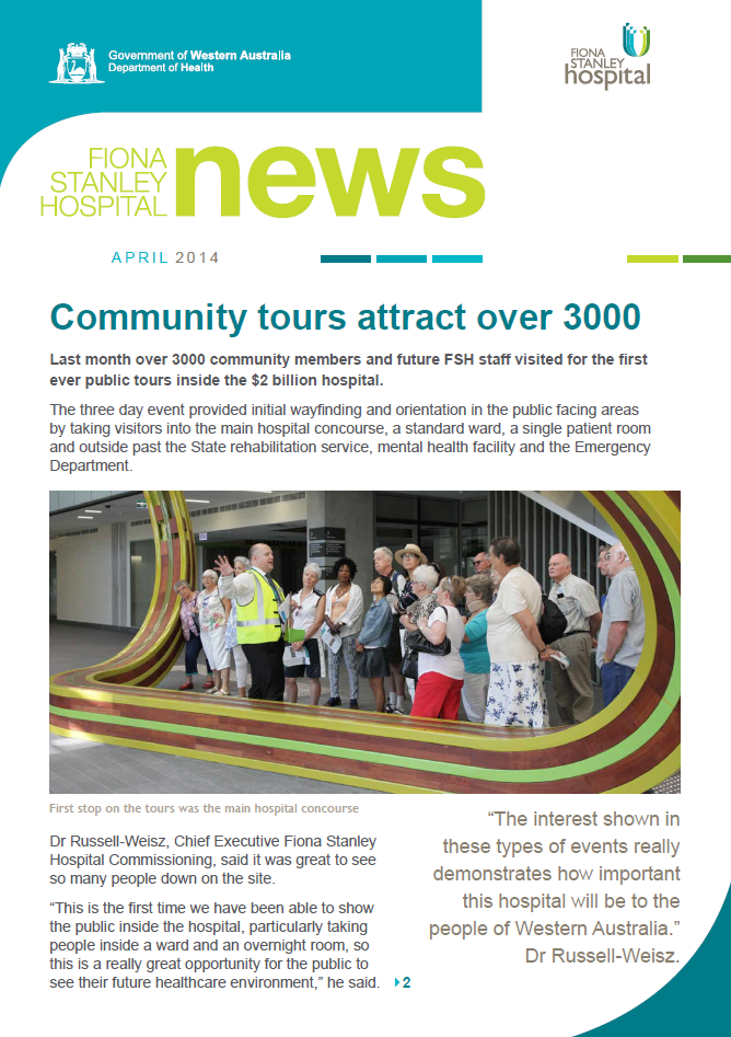 Front page of the April 2014 newsletter