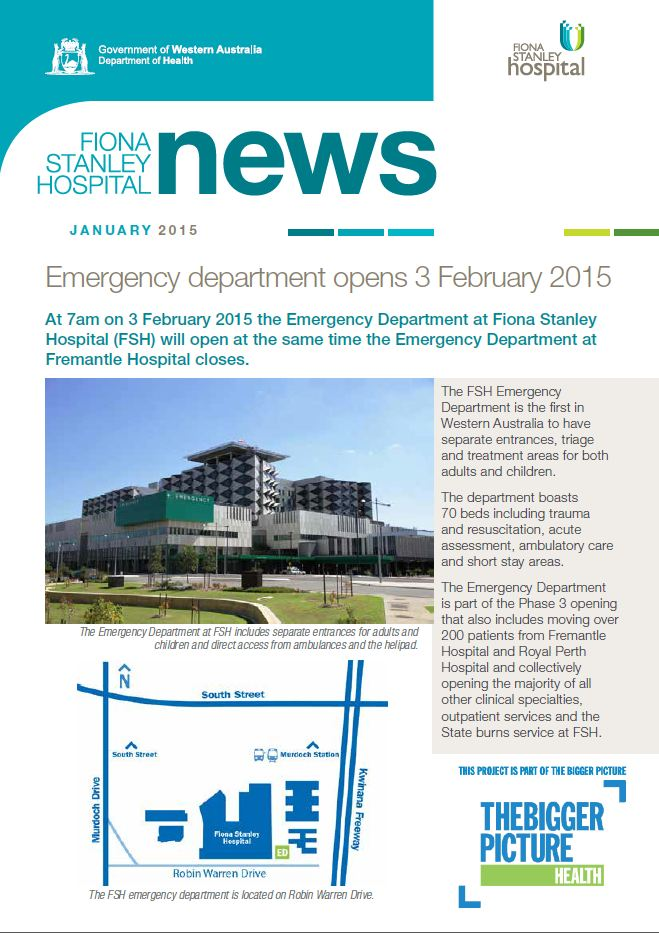 Fiona Stanley Hospital, Newsletter, January, 2015
